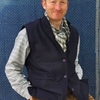 Blue Kulu waistcoat seen here with 70 shirt in grey ikat  s -xxl £35