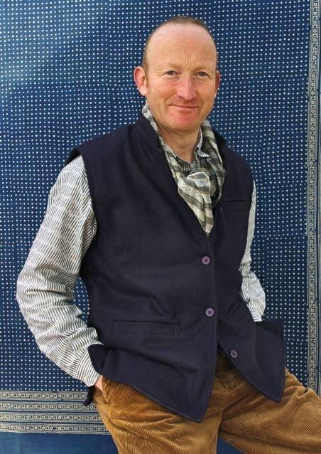 Blue Kulu waistcoat seen here with 70 shirt in grey ikat  s -xxl £35